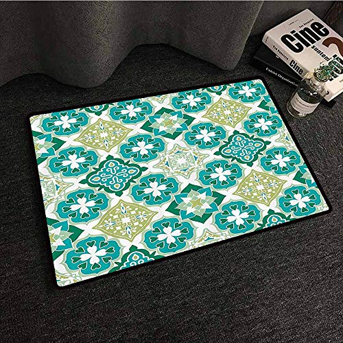Moroccan Decor Front Door Mat Large Outdoor Indoor Colored Tiled Pattern with Geometrical Diagonal and Triangle Forms Oldest Craft Non-Slip Backing W35 xL47 Green Teal White ()