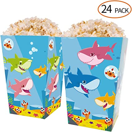 24pcs Popcorn Carton Mermaid Paper Party Supplies Treat Box Holder for Birthday