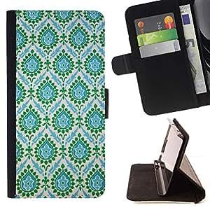 For HTC One M7 Case , Azul indio del trullo del vintage- la tarjeta de Crédito Slots PU Funda de cuero Monedero caso cubierta de piel