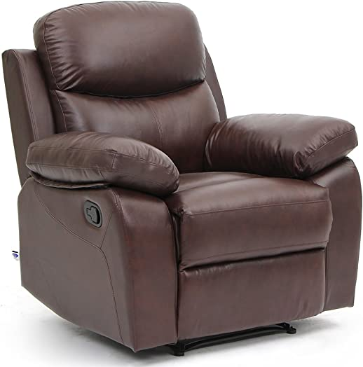 VH FURNITURE Top Grain Leather Sofa Recliner 1 Seat Classical Style