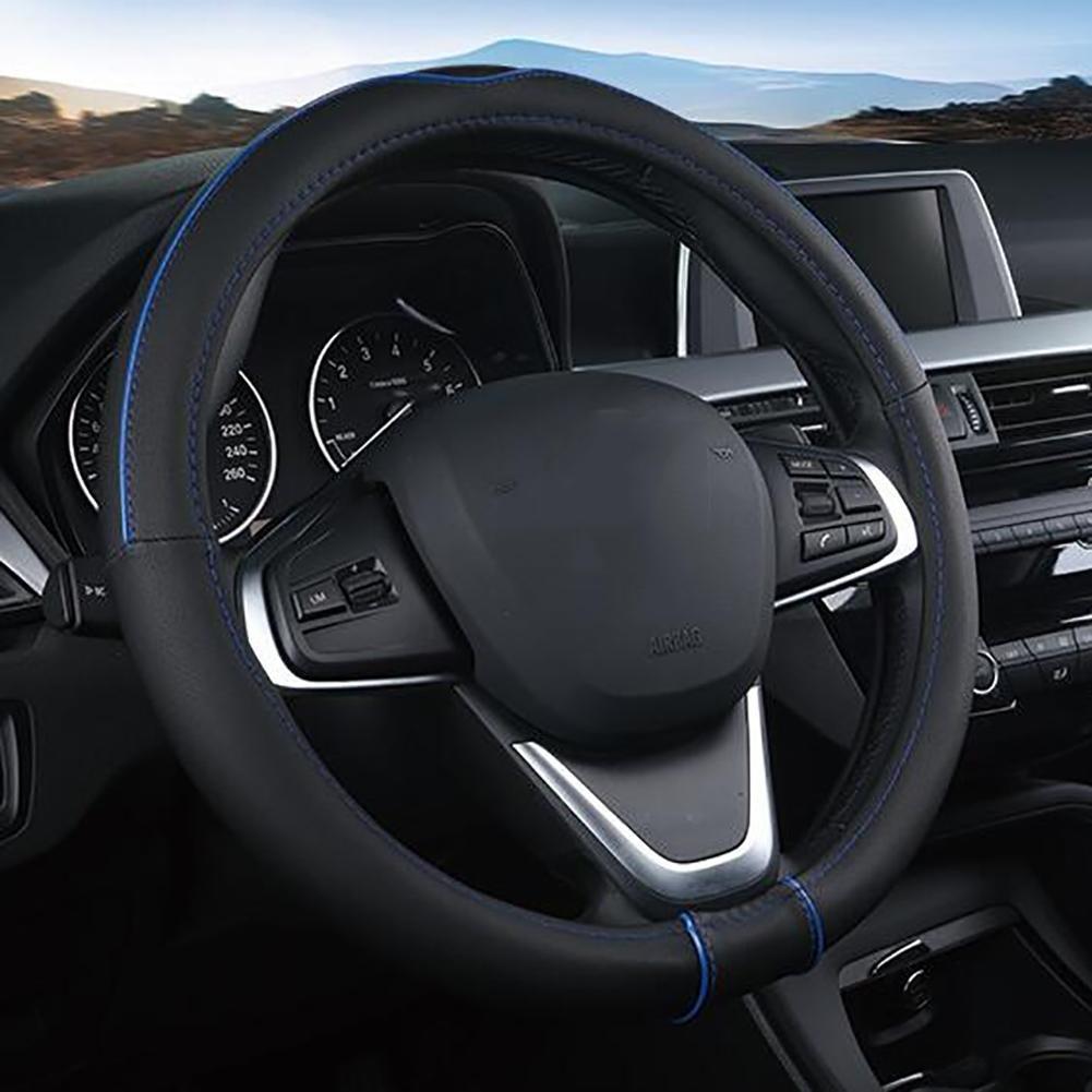 Bleu quatre saisons Universal respirant anti-d/érapant r/ésistant /à lusure en cuir Housse de Volant noir MIAO Couverture de volant de voiture