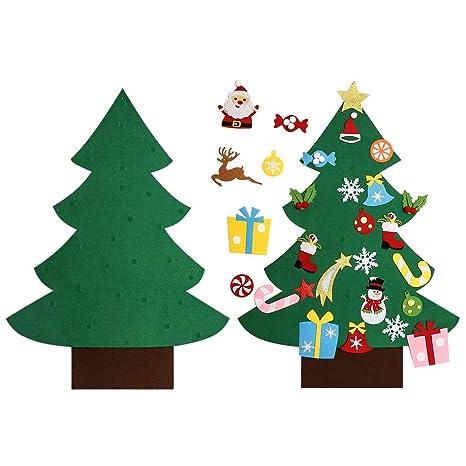 Regali Di Natale In Feltro Fai Da Te.Asommet 3 Piedi Albero Di Natale In Feltro Fai Da Te Con 28 Pezzi Ornamenti Rimovibili Decorazione Della Parete Per I Bambini Regali Di Natale