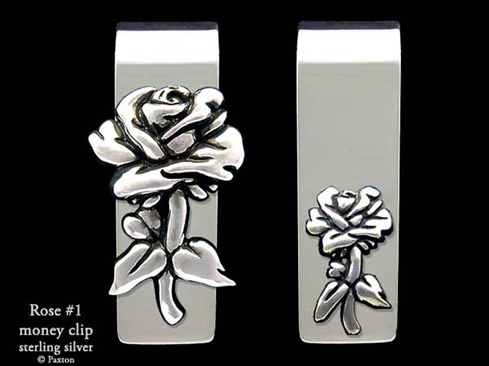Rose Flower Money Clip in Solid Sterling Silver Hand Carved, Cast & Fabricated by Paxton