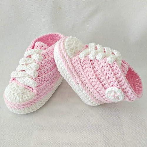 Patucos para Bebé Recién Nacido tipo Converse, 0-3 meses Rosa Claro. Handmade. Crochet. España: Amazon.es: Handmade