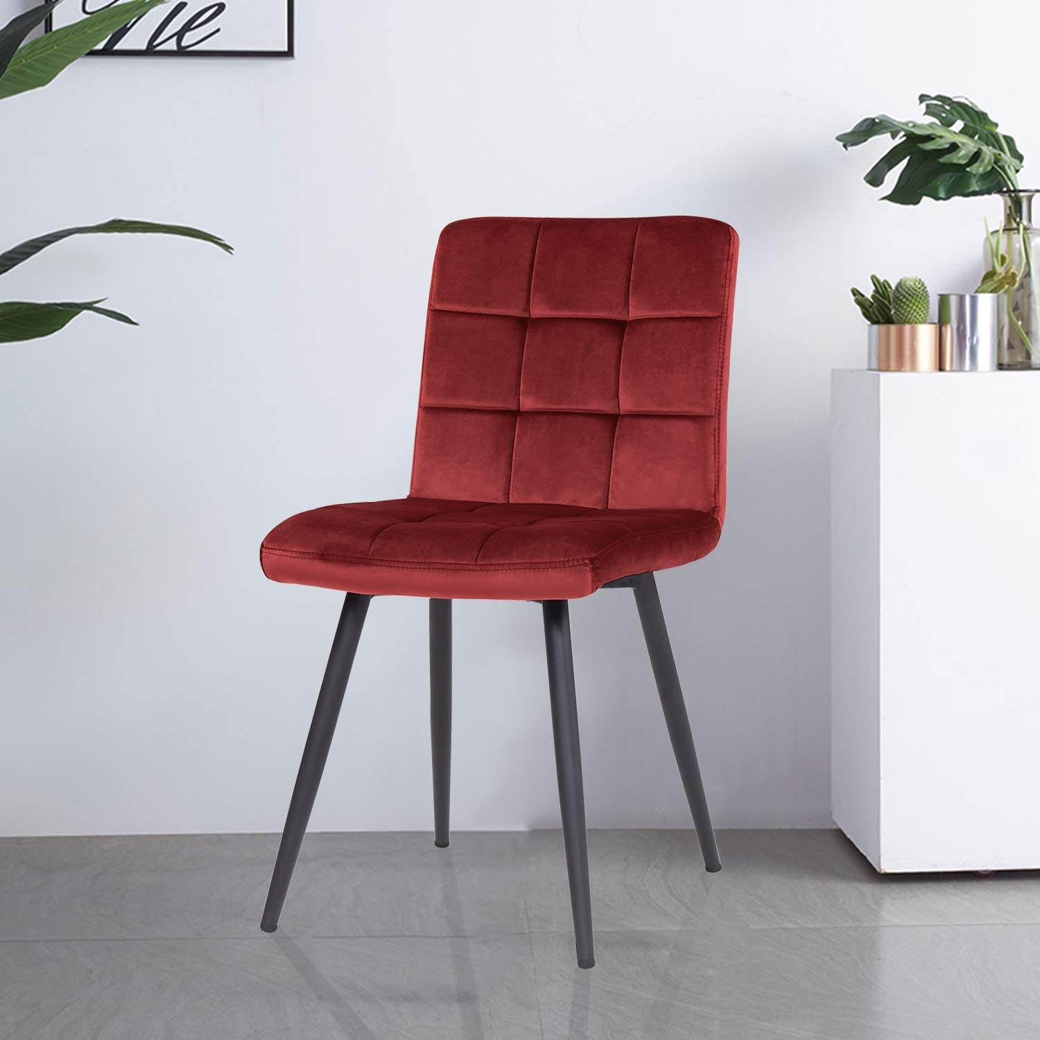Duhome Dining Room Chairs Wingback Modern Eames Kitchen Velvet Chair Set of 2