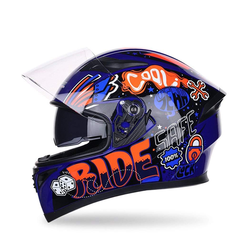 TOMSSL高品質 男性と女性のABSオートバイフルカバーヘルメット四季オートバイレースフルフェイスヘルメットパターンヘルメットクイックリリース TOMSSL高品質 (Color : Blue, Size : XXL) XX-Large Blue B07SDLZ3VY