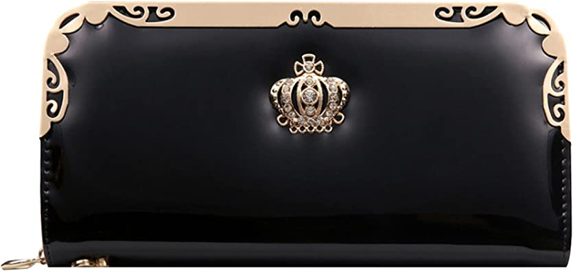 Todd Grace Fashion Ladies Purse Elegant Clutch Crown Wallet PU Leather Long