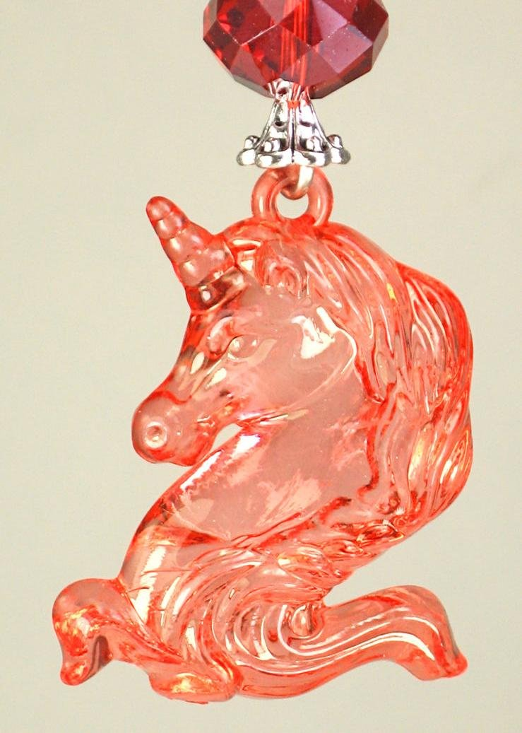 My Pretty Watermelon Color Unicorn with Faceted Glass Ceiling Fan Pull