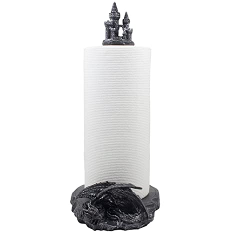 mythical guardian dragon paper towel holder with castle figurine in metallic look for medieval kitchen decor