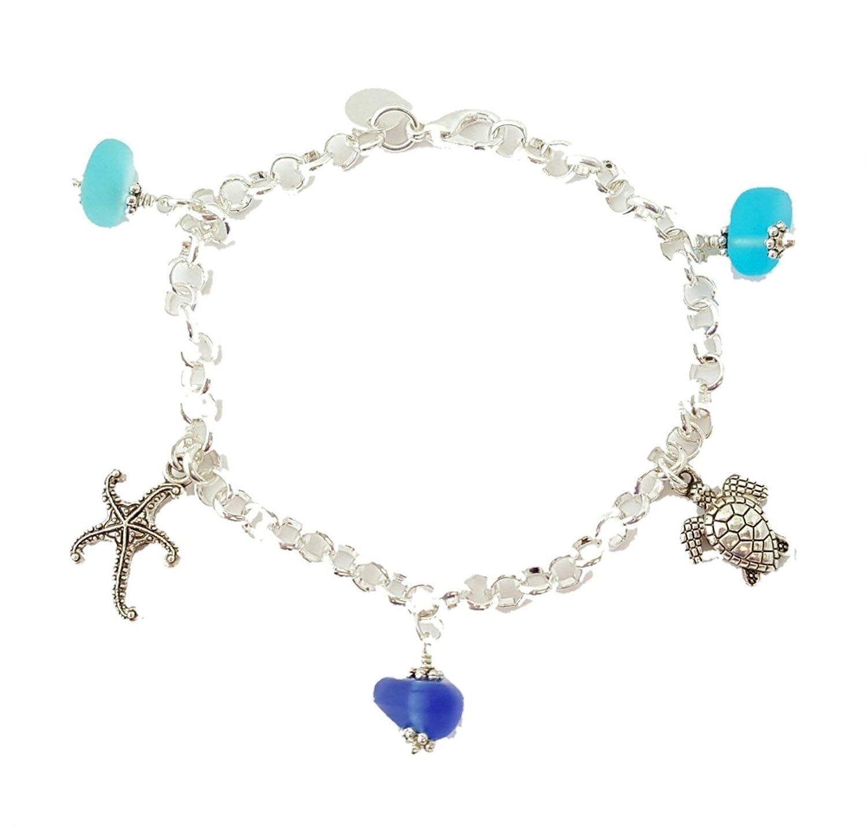 "HandmadeThree Colors of the Hawaiian Ocean"" sea glass bracelet, starfish charm, turtle charm, freshwater pearl, Hawaiian Gift, FREE gift wrap, FREE gift message"