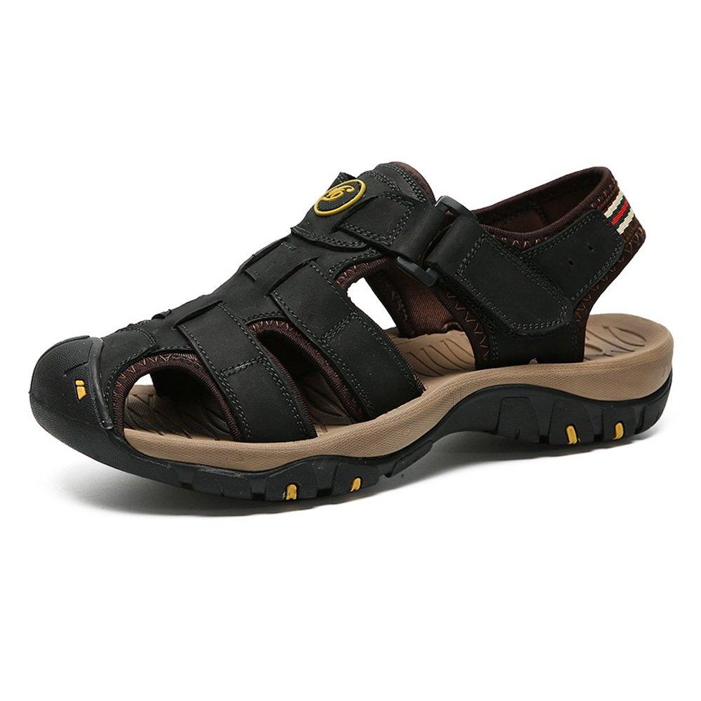 Zapatillas para Hombre Zapatillas de Playa de Cuero Genuino Sandalias Informales Respirable Antideslizante Suave Piso Cerrado Punta Cerrada 40 EU|Negro