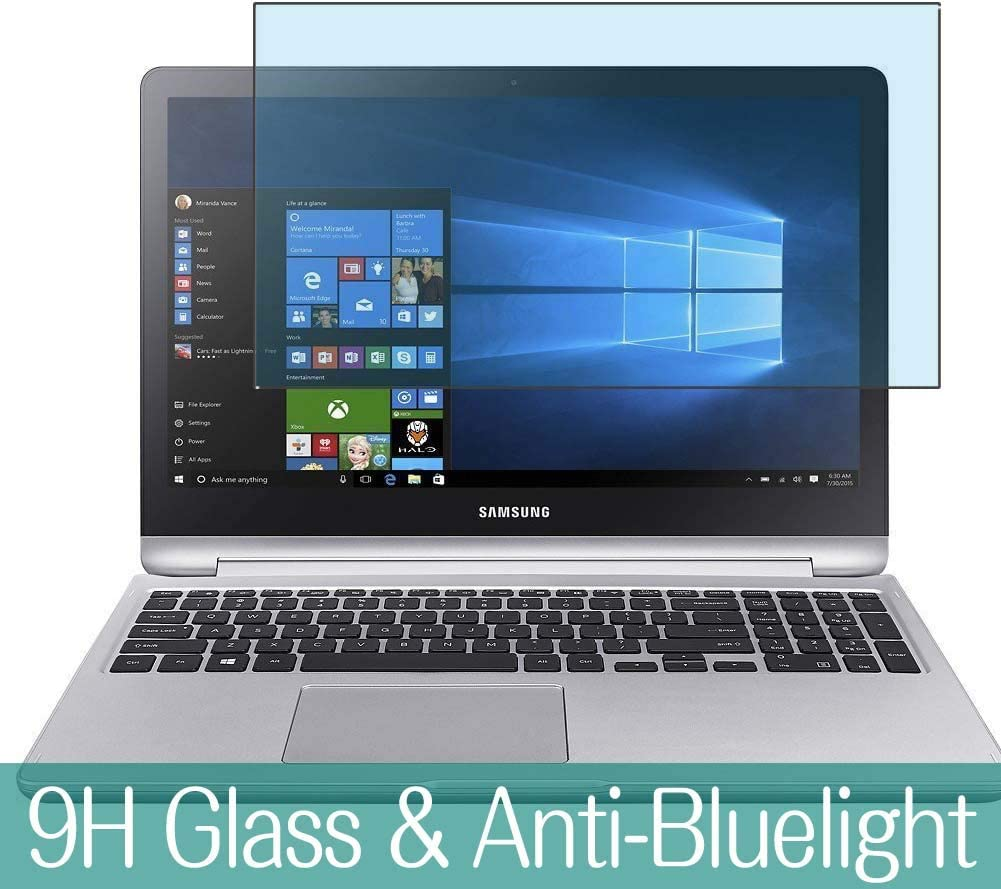 """Synvy Anti Blue Light Tempered Glass Screen Protector for Samsung Notebook 7 Spin (NP740U5M) 15.6"""" Visible Area 9H Protective Screen Film Protectors"""