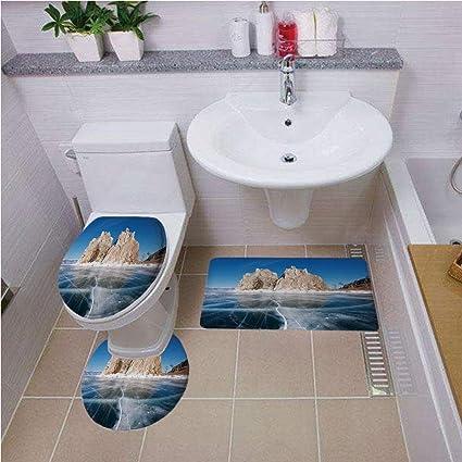 Amazon com: Bath mat Set Round-Shaped Toilet Mat Area Rug