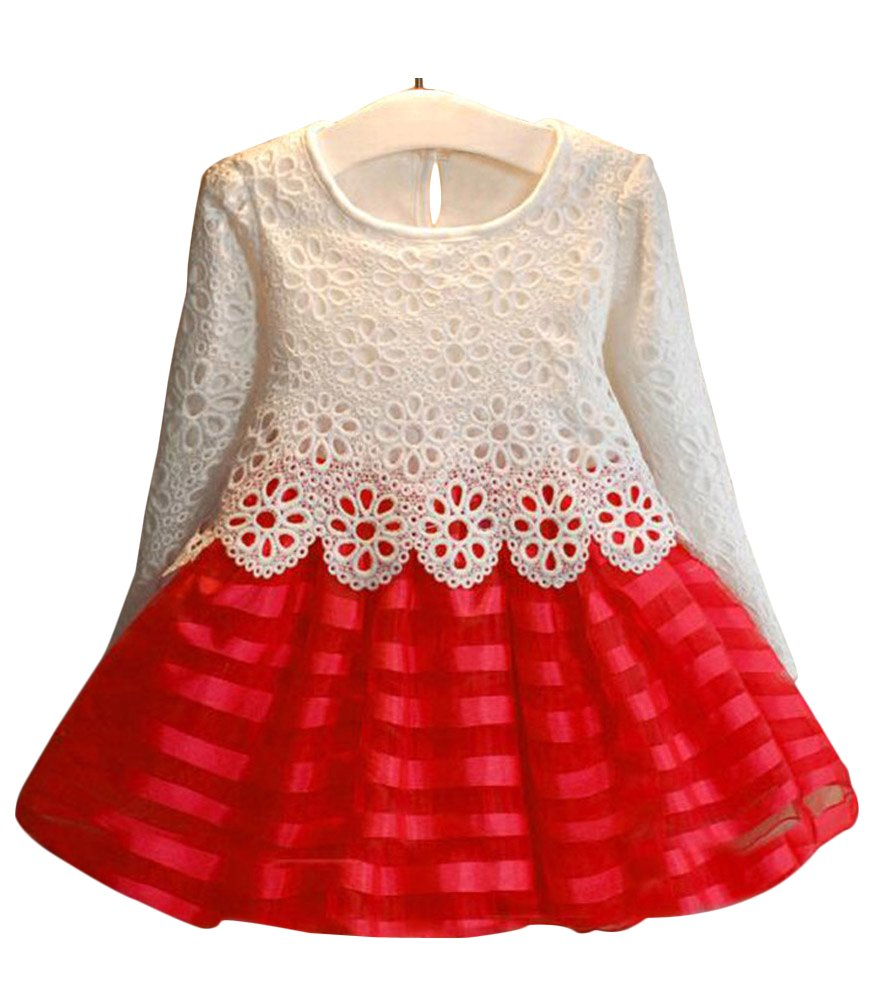 BogiWell Kids Girls Long Sleeve Crochet Pageant Party Dress Princess Christmas Dress Red(US 5-6T,Tag 130)