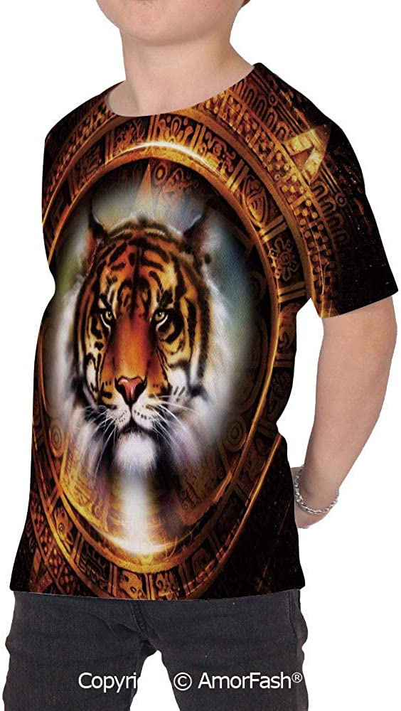 Tiger Boys and Girls All Over Print T-Shirt,Crew Neck T-Shirt,Ancient Mayan Cale