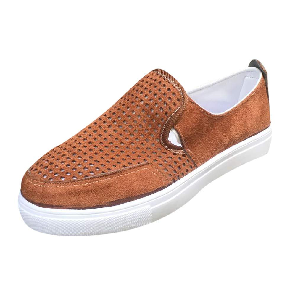 New in Respctful✿Womens Casual Canvas Sneaker Shoes Slip On Flats Fashion Comfort Loafers Round Toe Flat Shoes Brown