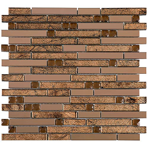 - Bronze & Brown Crystal & Galaxy Brick Glass Mosaic Tile Sheet-Kitchen and Bath backsplash Wall and Floor Tile-TILE GENERATION (Sample)