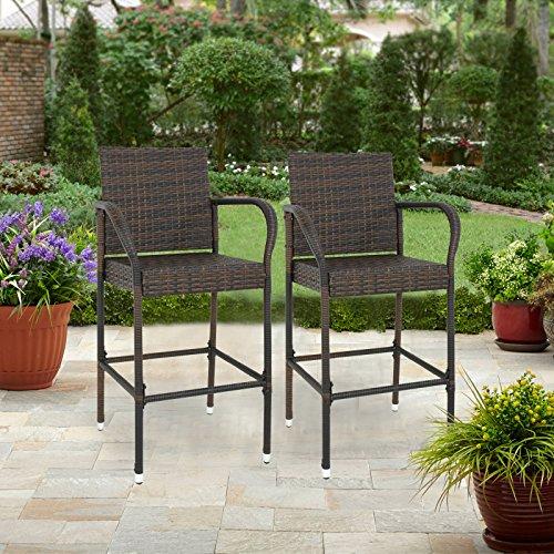 Nova Microdermabrasion Outdoor Wicker Bar Stool Backyard Chair Patio Rattan Chair with Armrest – 2Pcs by Nova Microdermabrasion