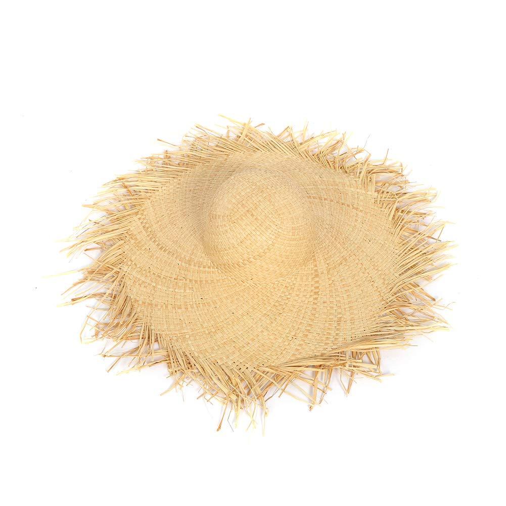 Cappelli di paglia rafia Floppy Ampia Grande Cappello per il sole della frangia solido Vintage tesa larga cappelli della spiaggia per le donne M