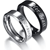 Couples Rings His or Hers Matching Set Titanium Wedding Engagement Bands comfort fit 8mm