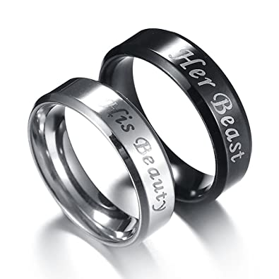 matching set and rings black heart wedding couples in his bands hers