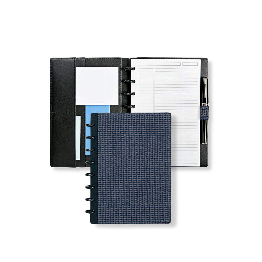 Levenger ADS9920 NVGY JNR Houndstooth Book Cloth Fold Over Notebook, Navy/Gray