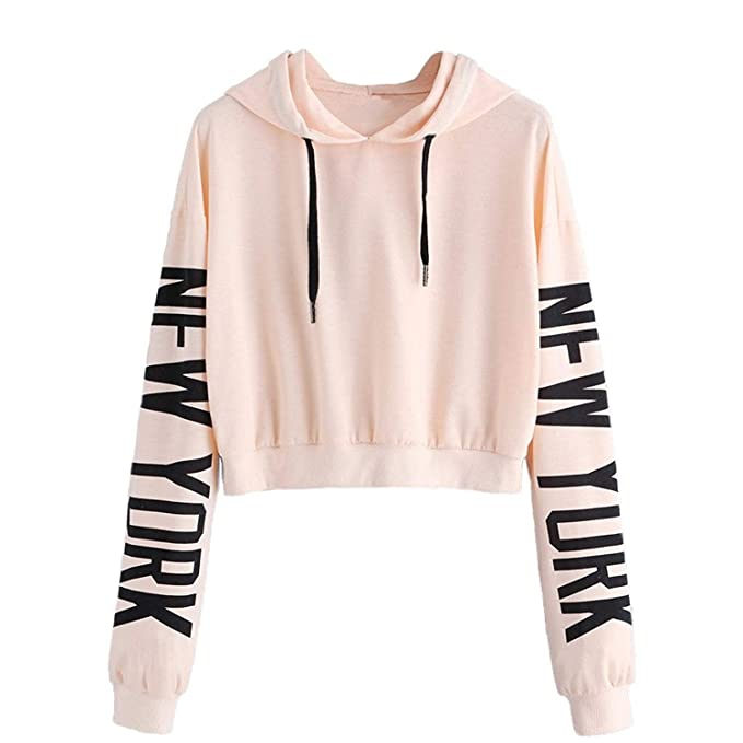 Women Hoodie, Lananas Girls Casual New York Letters Drawstring Long Sleeve Pullover Sweatshirts