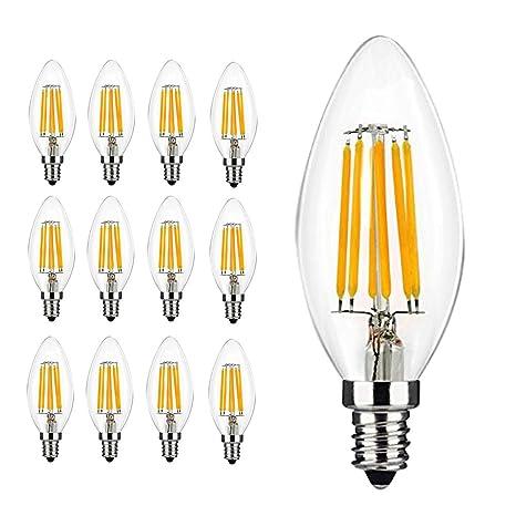 12x 6W E14 Bombilla LED, 600 lúmenes, blanco cálido 2700K, 360° Ángulo