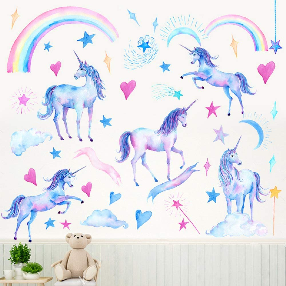 Amaonm Removable Colorful Unicorn Wall Stickers Rainbow Bridge Clouds Moon Stars Wall Decals 3D DIY Home Wall Art Decor for Girls Bedroom Kids Babys Nursery Living Room Classroom Decoration
