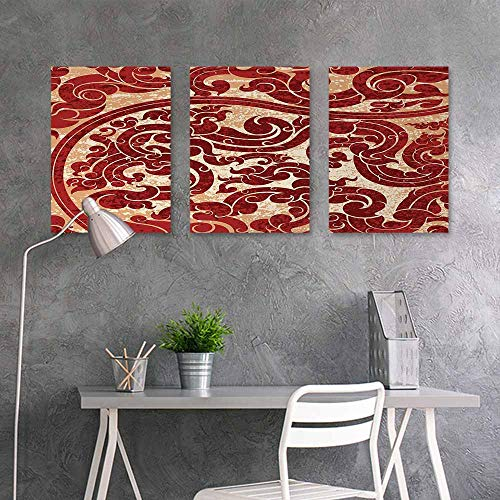 (BE.SUN Printing Oil Painting,Antique,Thai Culture Vector Abstract Background Flower Pattern Wallpaper Design Artwork Print,for Living Room,Dinning Room, Bedroom 3 Panels,16x31inchx3pcs,Ruby)
