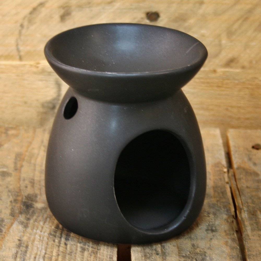 Ceramic Tealight Candle Holder Essential Oil Burner ~ Black Carousel Home