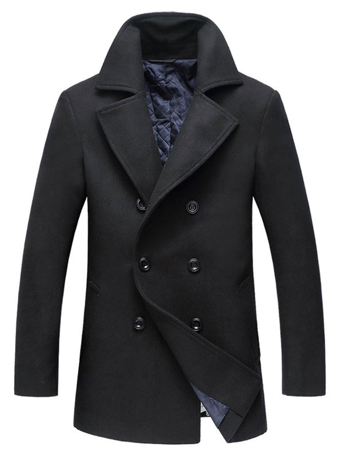 chouyatou Men's Classic Notched Collar Double Breasted Wool Blend Pea Coat (Medium, Black) by chouyatou