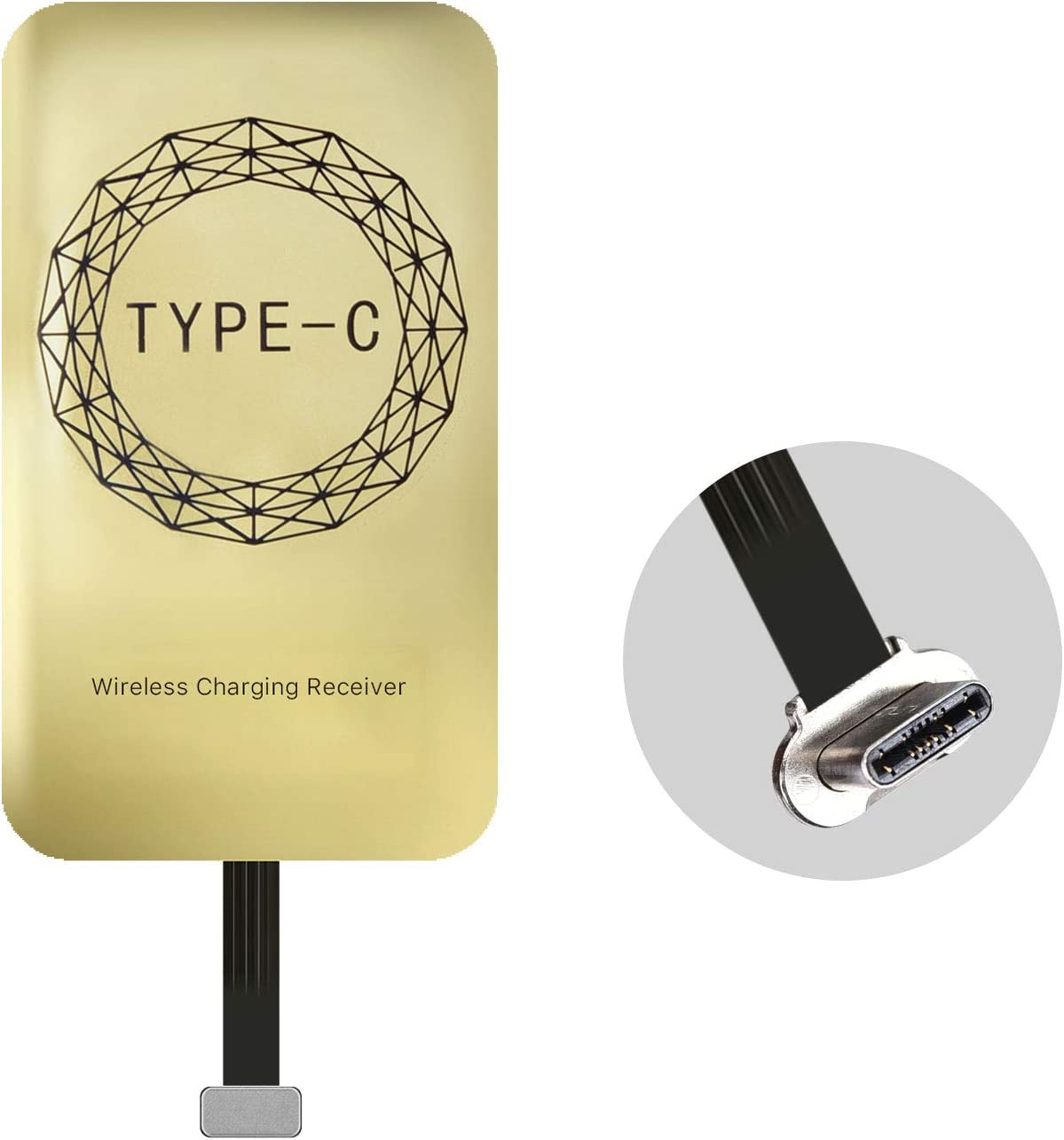 EooCoo Tarjeta de Receptor de Carga inalámbrica Universal Qi para teléfonos Inteligentes con Conector USB Tipo C