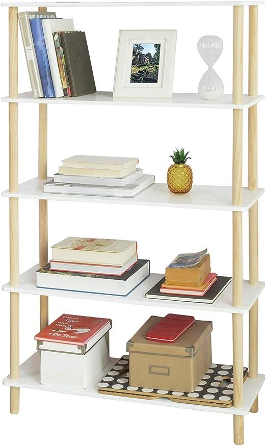 SoBuy STR04-WN Estantería de 5 Niveles para Baño Librería Escalera ...