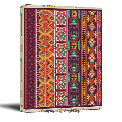 Painting On Canvas Print Wall Art Picture Colorful with Birds Flowers and Arrows Mayan Latino Cultural Heritage for Living Room Bedroom Wall Decor (16 X 24 Inch, Framed) (Cultural Differences Between Us And China Business)