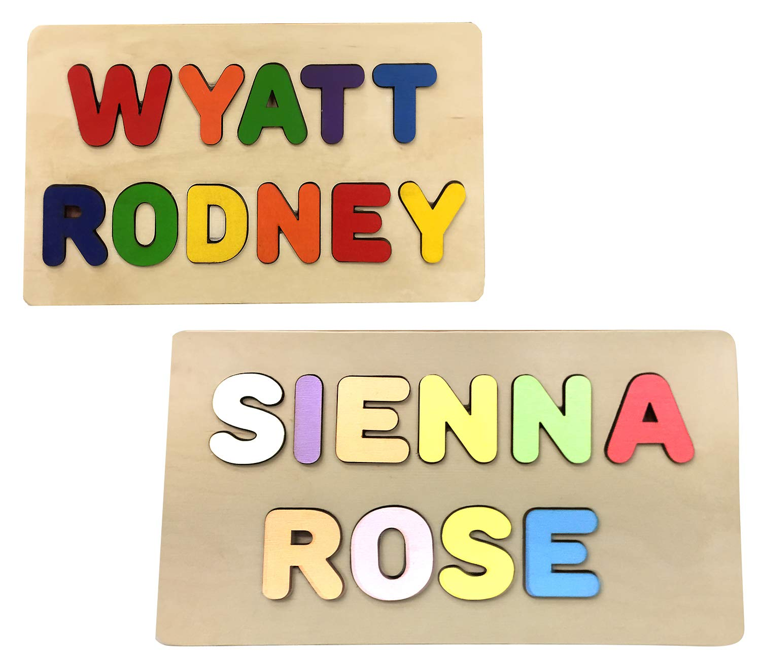 KIDZCO Wooden Personalized Name Puzzle (2 Name Puzzle) First & Last Name Or 2 Names by KIDZCO