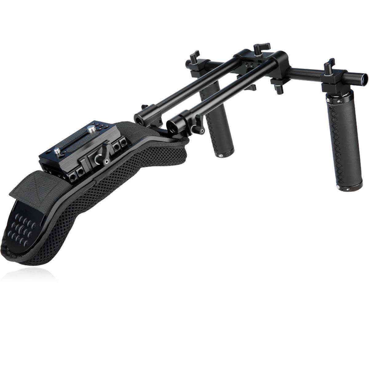 NICEYRIG DSLR Camera Rig System with Shoulder Pad, QR Baseplate, Handgrips and 15mm Rod Mount for Video DV by NICEYRIG