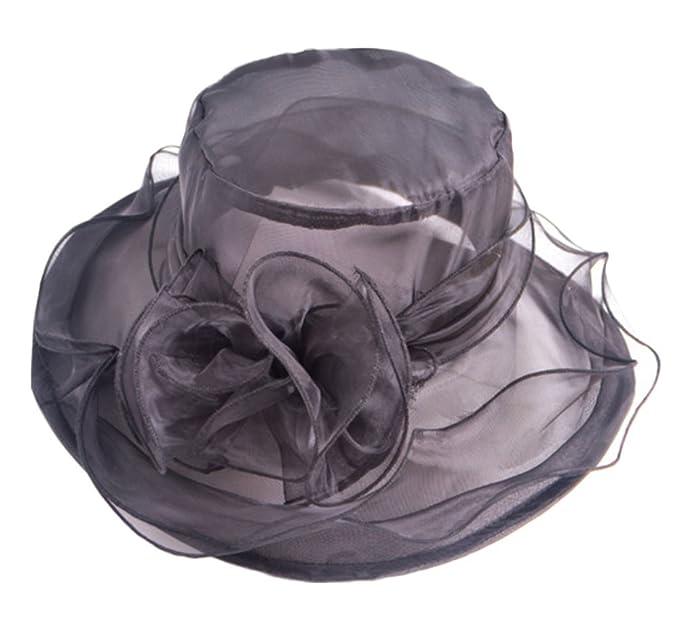 Sombrero grande con flores de ala ancha para vestidos.