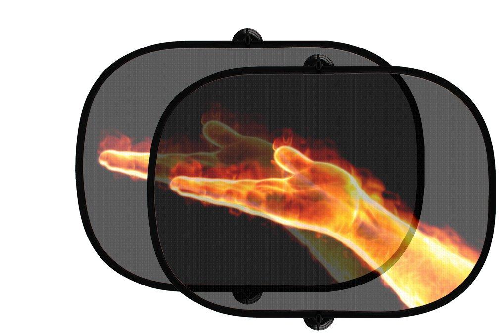 オスPalm on Fire 2個折りたたみ式自動ウィンドウサンシェードメッシュ B07593W3HD