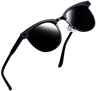 abd495b75c Joopin Semi-Rimless Polarized Sunglasses Women Men Brand Vintage Sun Glasses  (Black Metal)  Amazon.co.uk  Clothing