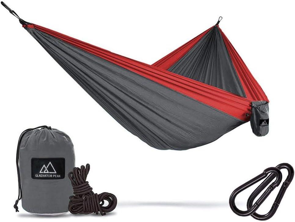 Gladiator Peak Double Hammock – Lightweight Parachute Portable Hammocks for Hiking, Travel, Backpacking, Beach, Yard.