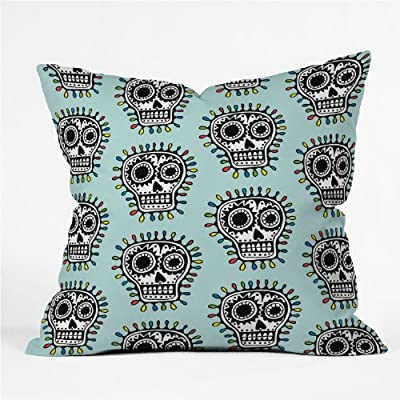 Deny Designs Andi Bird Sugar Skull Fun Aqua Throw Pillow, 18 x 18 - Fabric woven polyester Closure sealed Care spot treatment with mild detergent - living-room-soft-furnishings, living-room, decorative-pillows - 61QveAb DsL. SS400  -