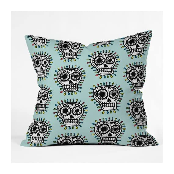 Deny Designs Andi Bird Sugar Skull Fun Aqua Throw Pillow, 18 x 18 - Fabric woven polyester Closure sealed Care spot treatment with mild detergent - living-room-soft-furnishings, living-room, decorative-pillows - 61QveAb DsL. SS570  -