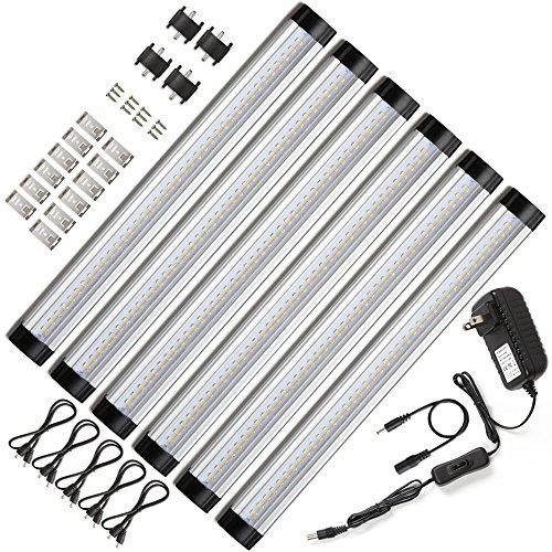 Ustellar LED Under Cabinet Lighting 6 Panel Kit, 12in Under Counter Lights, 1800lm, 3000K Warm White, 12V DC, 48W Fluorescent Tube Equivalent, LED Light Bar for Closet Bookshelf Showcase Bedroom