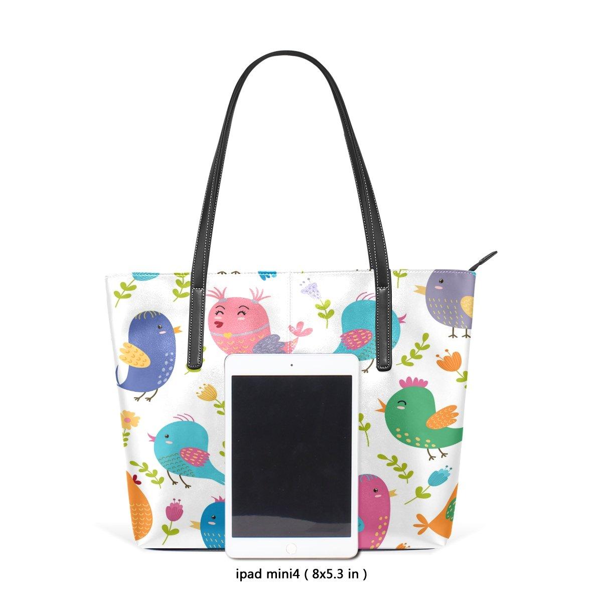 Womens Leather Top Handle Shoulder Handbag Birds Large Work Tote Bag