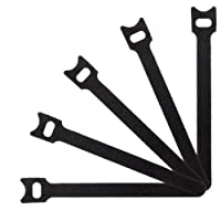 Tenn Well Magic Cable Ties, 50pcs Reusable Nylon Cable Ties with Hook Loop for Tidying Computer and Network Cable (Black)