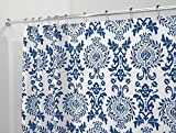 mDesign Damask Fabric Shower Curtain - Long, 72'' x 84'', Navy Blue