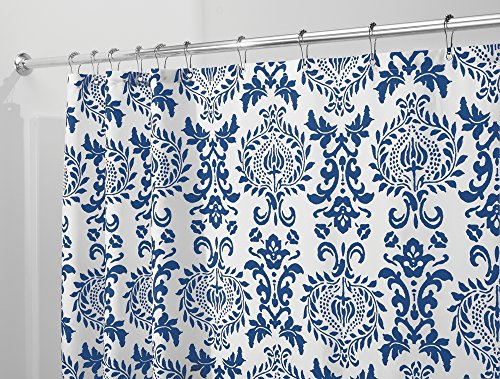 mDesign Damask Fabric Shower Curtain - Long, 72'' x 84'', Navy Blue by mDesign