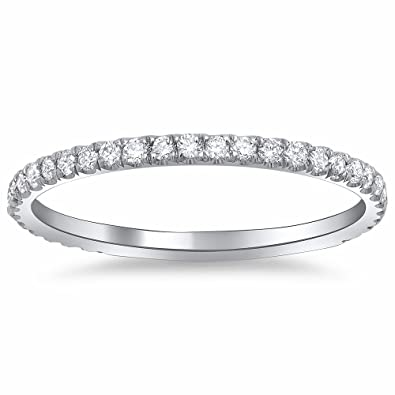 pave round p diamond bands band gold