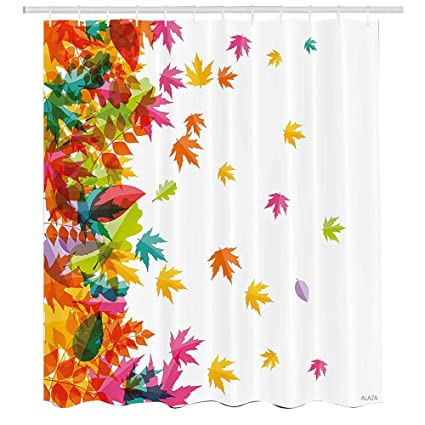 Amazon Colorful Shower CurtainFalling Autumn Leaves Border